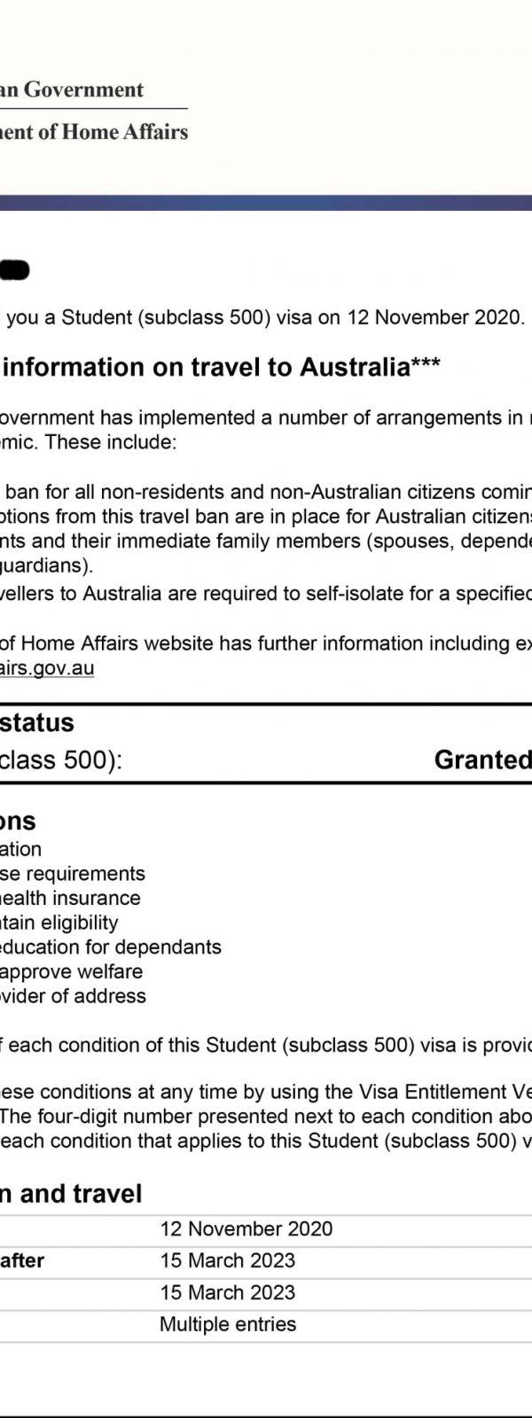 Australian student subclass 500 visa (umer shahid)